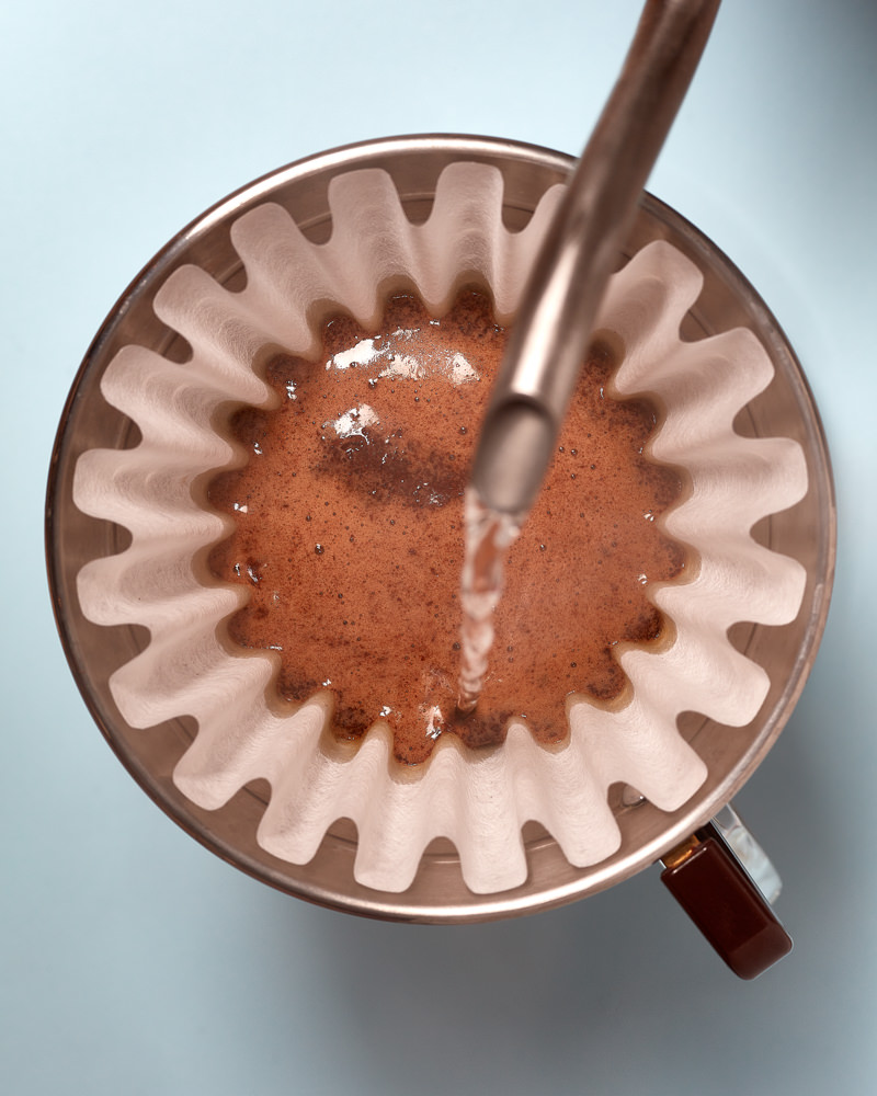 photograph of bloom during v60 coffee