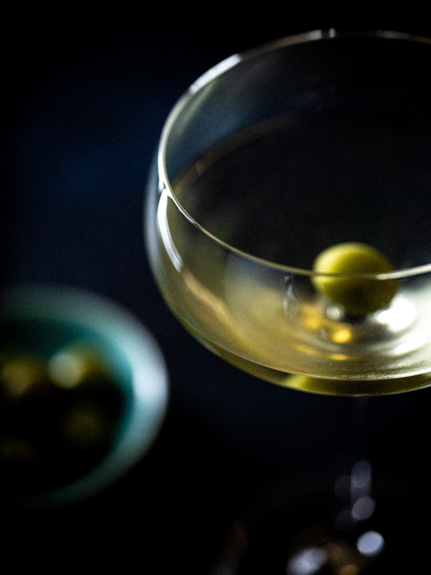 classic martini cocktail in a bar