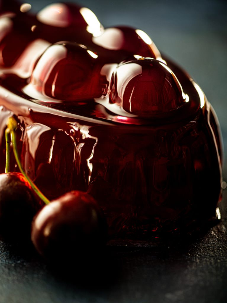 Vintage cherry jelly with fresh cherries