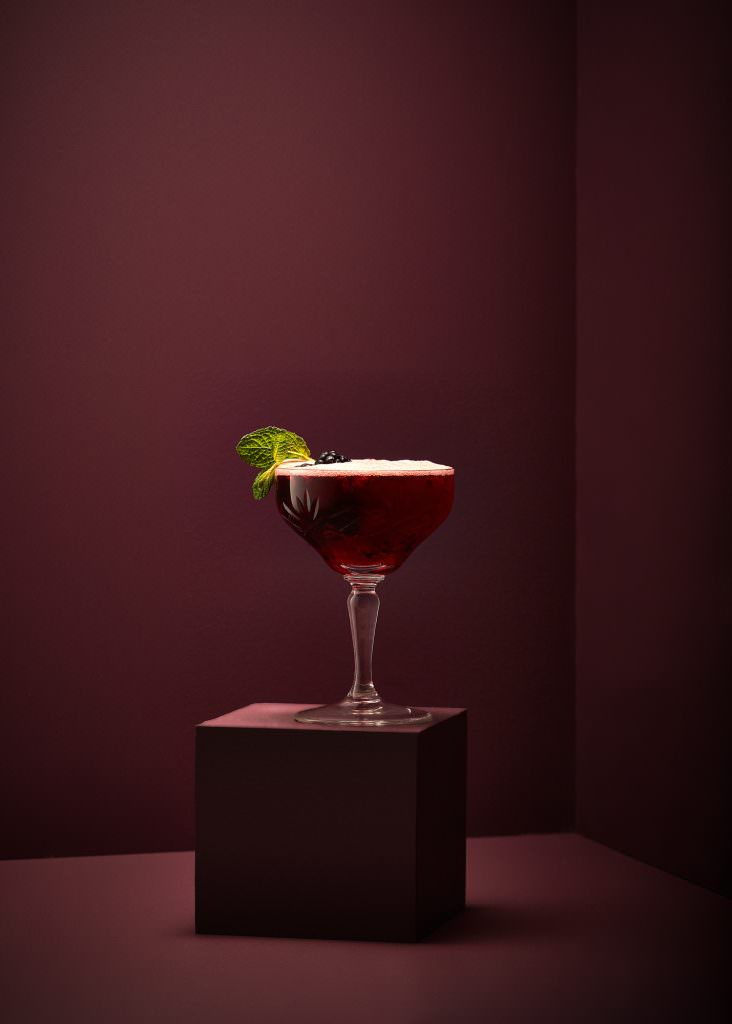 Berry cocktail photographed by Drinks photographer Scott Choucino