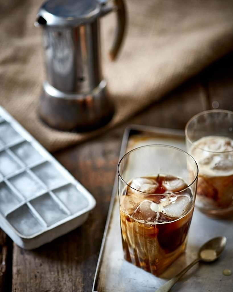 Iced coffee styled in a vintage fashion