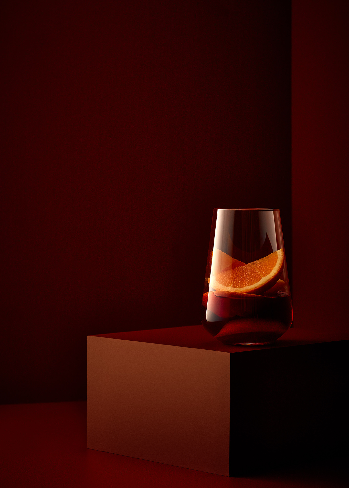 Classic whiskey cocktail on a rusty red set