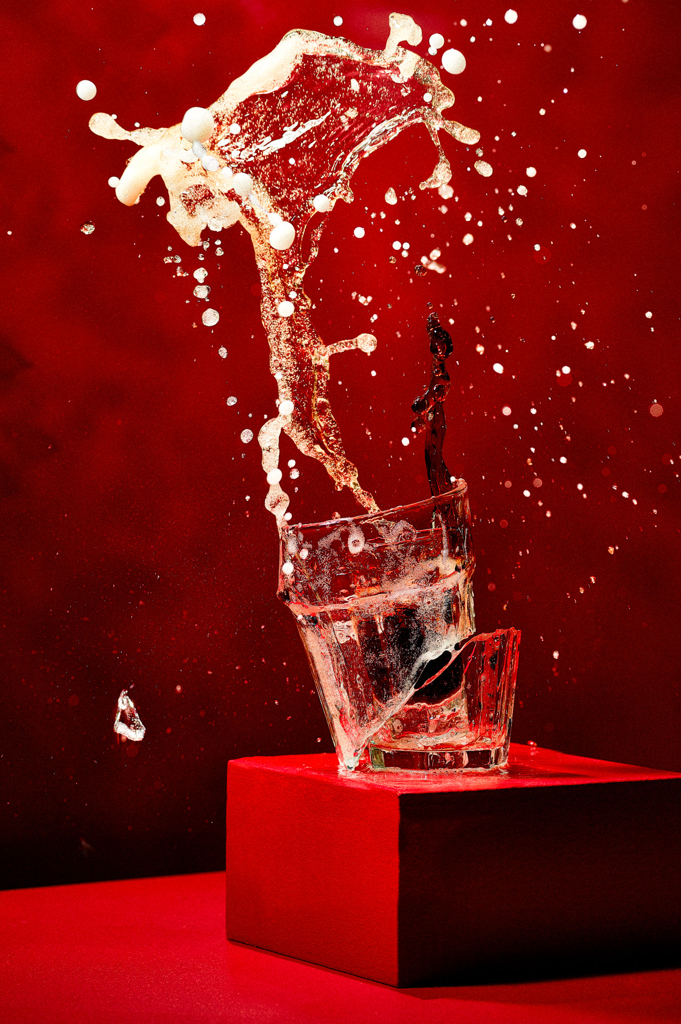 Photograph of Jaegerbomb drink smashing a glass
