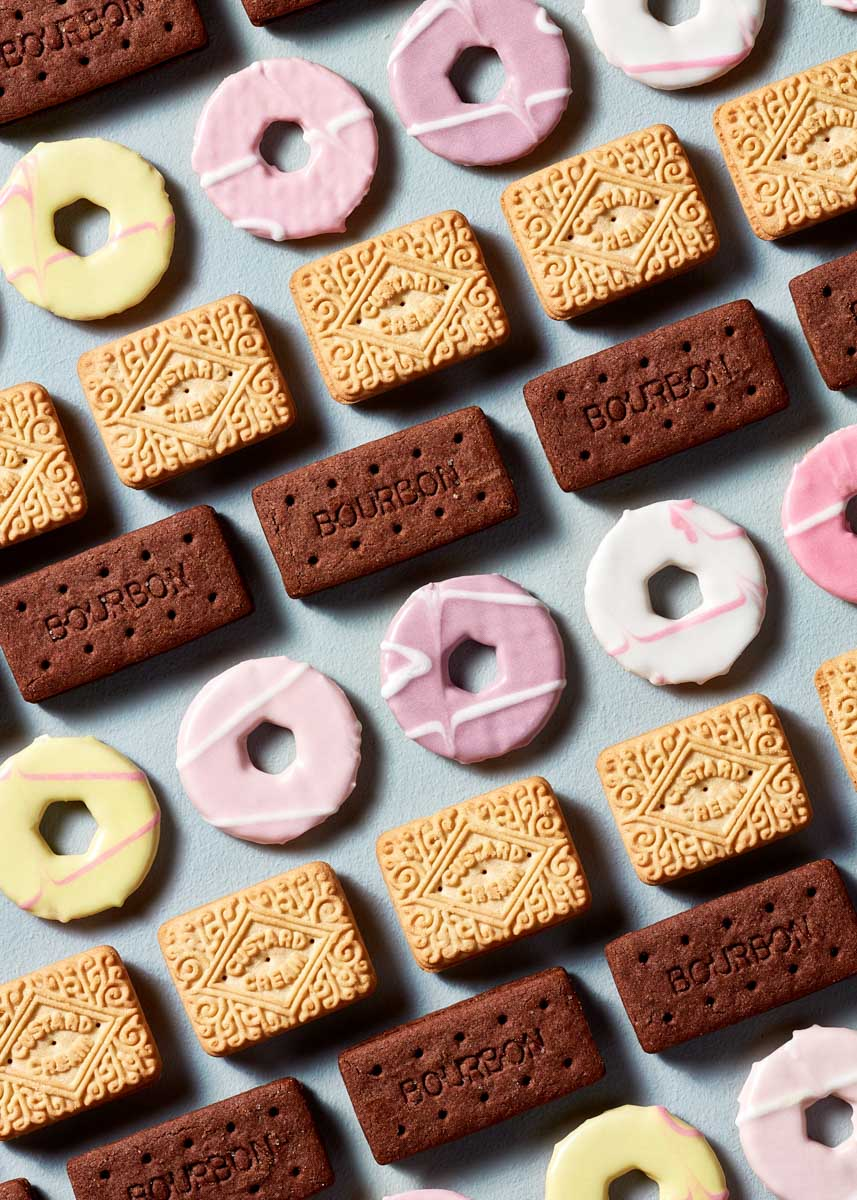 Graphic and repetitive food photograph of biscuits