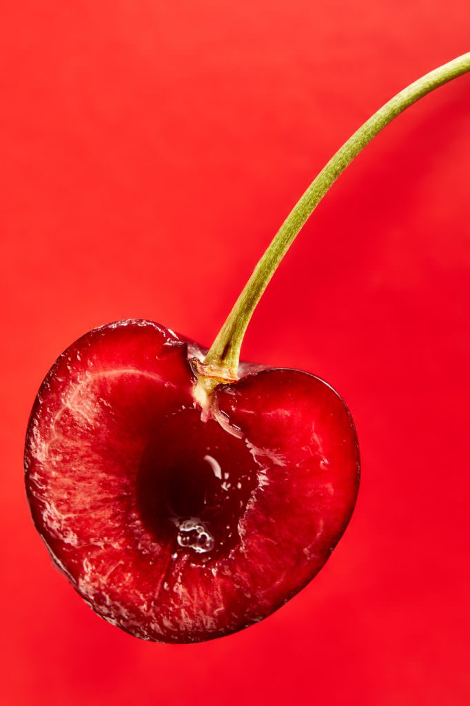 Close up photograph of a perfect cherry