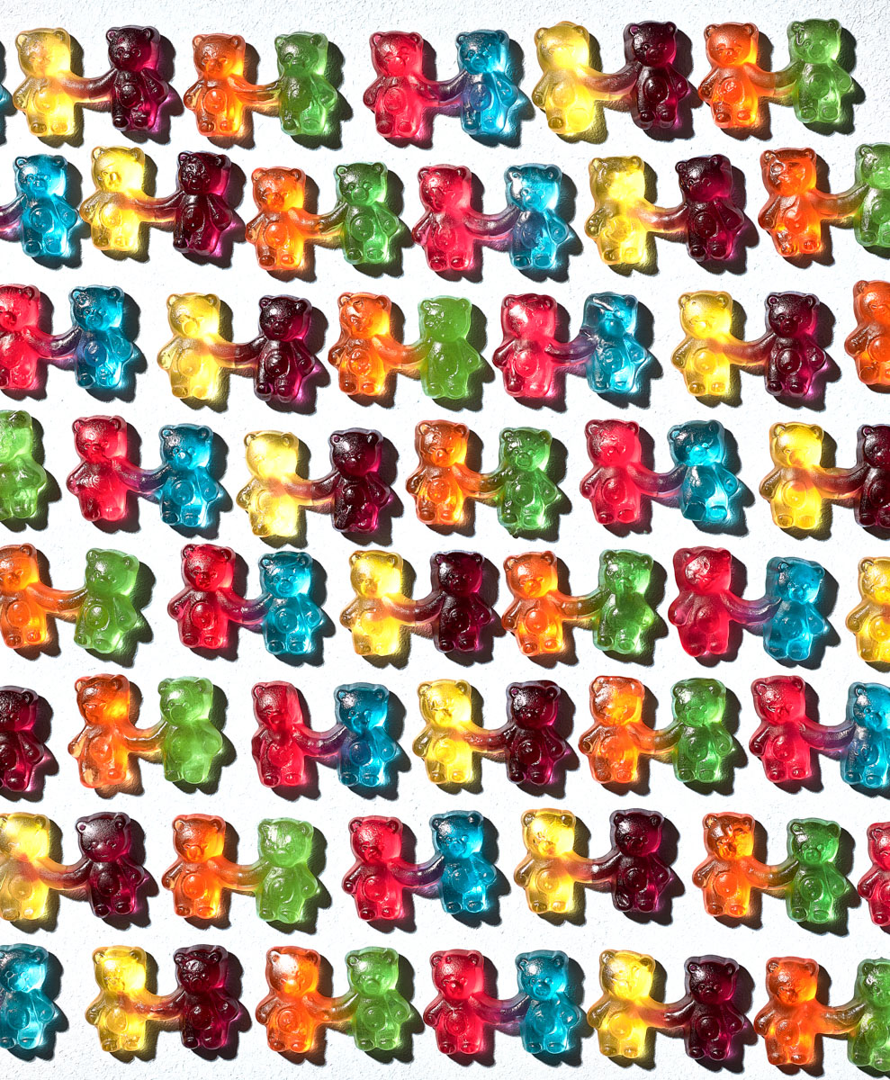 Bold sweet photography of gummy bears holding hands