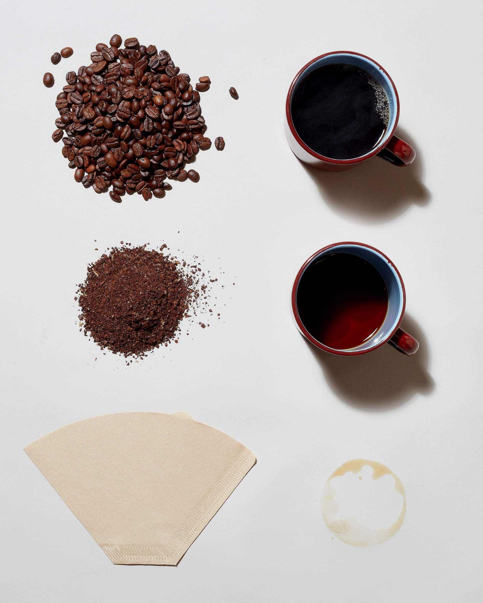 Deconstructed pour over coffee photography