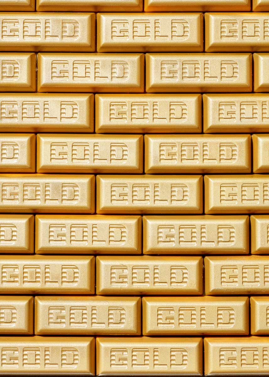 Graphic food photographer image of chocolate Gold Bars