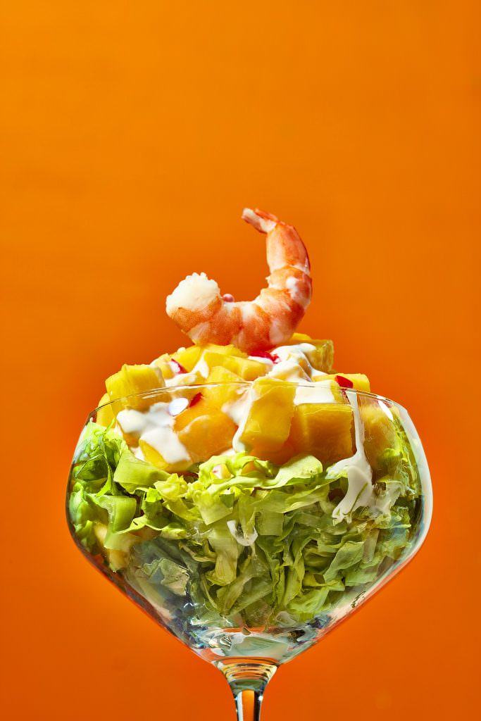Club Tropicana inspired food photograph of a classic prawn cocktail
