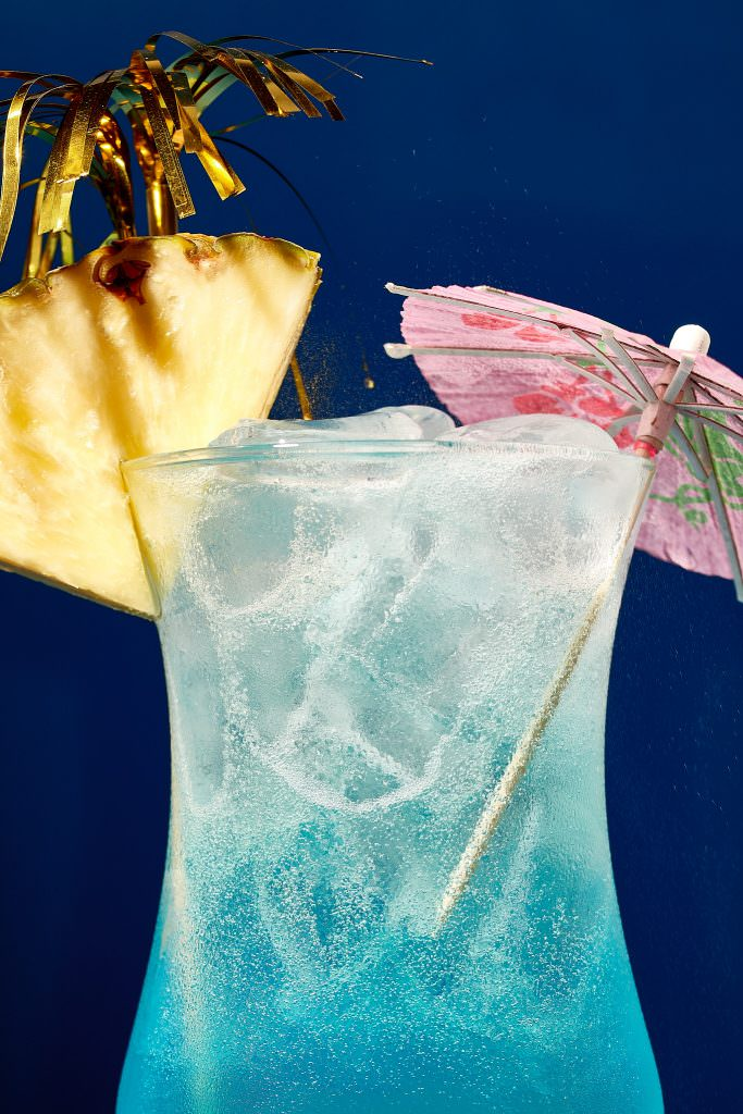 Blue lagoon cocktail photography