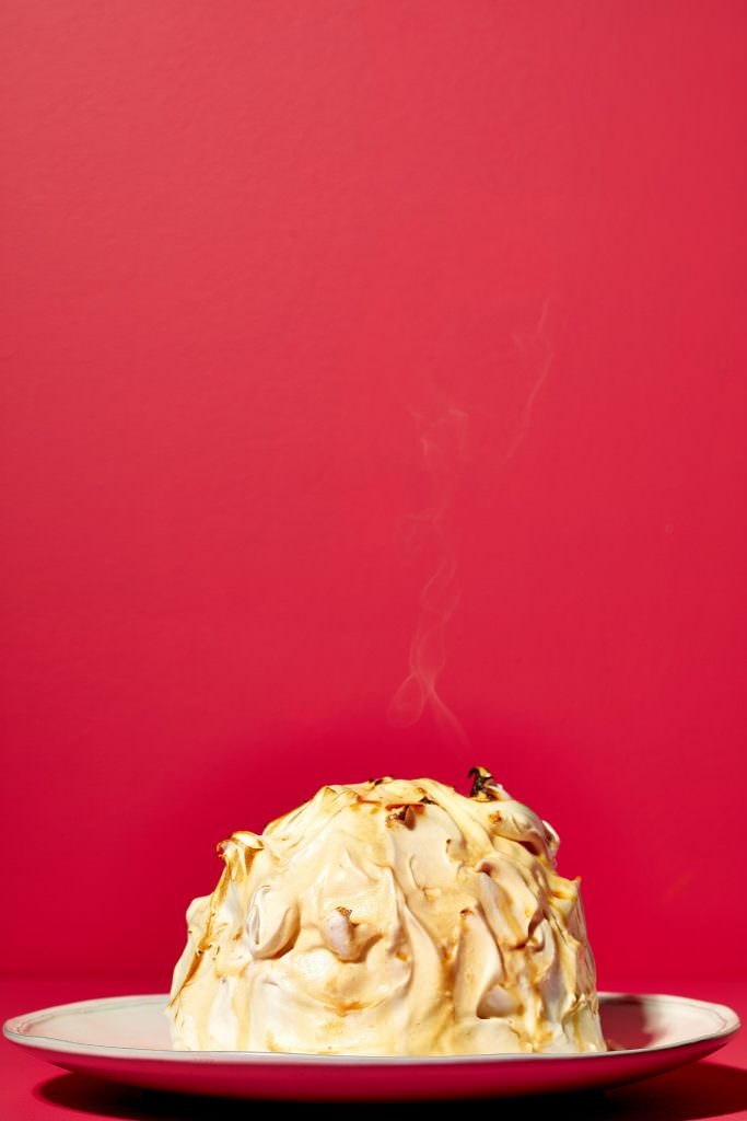 Singed baked alaska inspired by Club Tropicana food photography